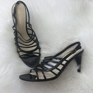 Via Spiga Black Strappy Heels size 9.5 M